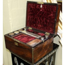 Victorian Brass Bound Rosewood Ladies Vanity Box