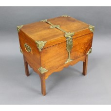 Victorian Brass Bound Walnut Travelling Chest on Folding Legs