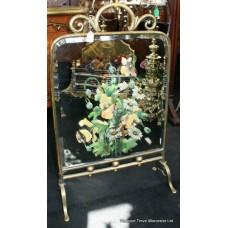 Victorian Brass Painted Mirror Fire Screen