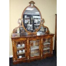Fine 19th c. French Burr Walnut Inlaid Credenza with Mirror