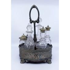 Victorian Crystal & Silver Plated English Cruet Set