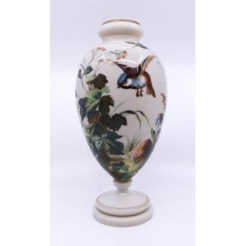 Victorian Hand Painted Blue Tit Opaline Glass Vase