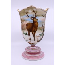 Victorian Hand Painted Stag Opaline Glass Vase