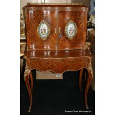 19th c. Louis XV Style Inlaid Bonheur du Jour with Sevres Plaques