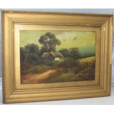Victorian Landscape Set in Gilt Frame Oil on Board