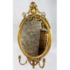 Victorian Oval Gilt Gesso Girandole Mirror