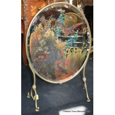 Victorian Oval Brass Painted Mirror Fire Screen