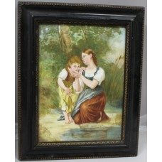 Victorian Painting on Porcelain Set in Ebonized Gilt Frame