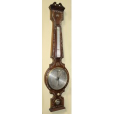 Victorian Rosewood Mother of Pearl Inlaid Barometer