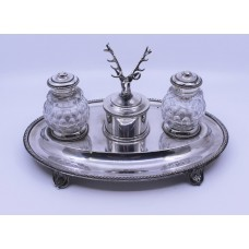Victorian Silver Plate & Cut Glass Inkwell