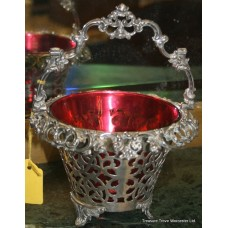 Victorian Silver Plated Cranberry Basket