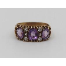 Victorian Style Amethyst & Gemstone 9ct Gold Ring