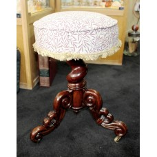 Victorian Three Legged Mahogany Circular Upholstered Piano Stool