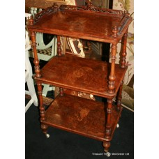 Victorian Three Tier Walnut Whatnot Shelves