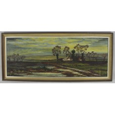 20th c. English Rural Landscape Oil on Canvas