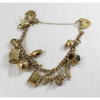9ct Gold Vintage Padlock Charm Bracelet with 12 Charms