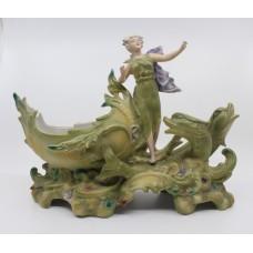 Vintage Continental Porcelain Sea Nymph Sculpture Centrepiece Bowl