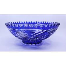 Vintage Czech Blue Cut Overlay glass Bowl