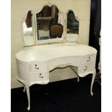 Olympus Louis XV Style Vintage Painted Kidney Shaped Dressing Table