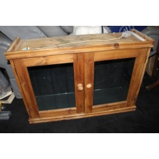 Vintage Old Pine Small Glazed Two Door Cabinet