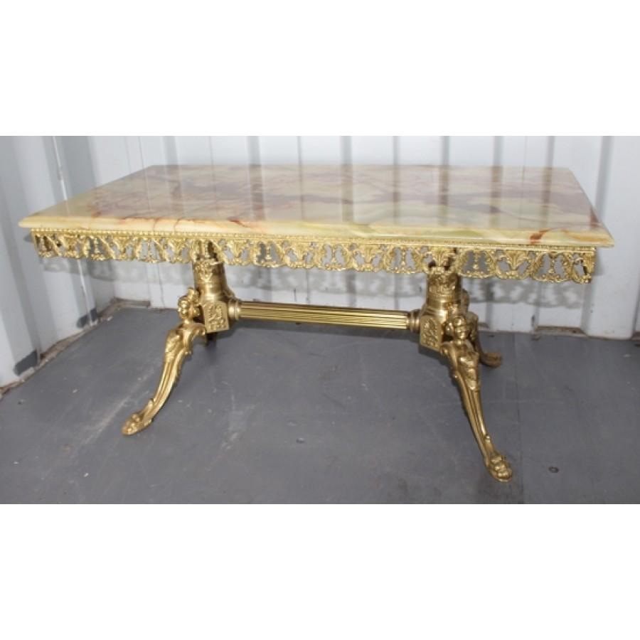 Marble Coffee Table Ornate: Vintage Ornate Brass Coffee Table With Onyx Top