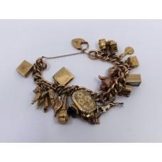 Vintage Rose & Yellow Gold Padlock Charm Bracelet