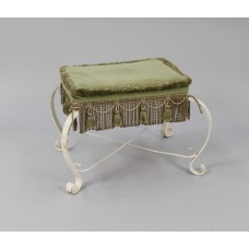 Vintage Shabby Chic Painted Upholstered Foot Stool
