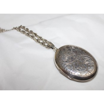 Vintage Engraved Silver Locket on Chain