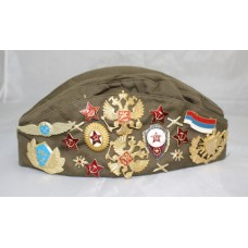 Vintage Soviet Pilotka Cap with Badges