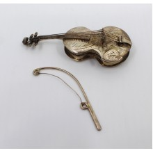 Vintage Sterling Silver Violin Form Pill Box by C J Vander Ltd