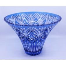 Vintage Stourbridge Glass Blue Overlay Crystal Splayed Vase