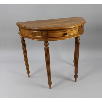 Vintage Stripped Mahogany Carved Demilune Side Table