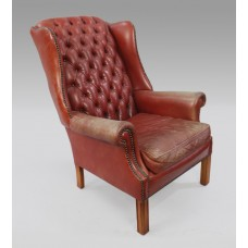 Vintage Red Leather Wingback Armchair