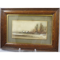 'December Frost' Watercolour by J.Coldrick Set in Oak Frame