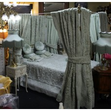 White & Gold Metal Framed Four Poster Bed with Drapes & Bed Furnishings