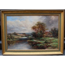 Edwardian English Landscape Oil on Canvas W.Barton