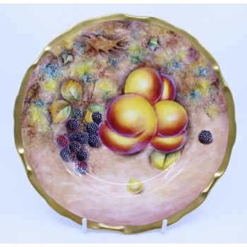 Hand Painted Worcester Fruit Plate by Gerald Delaney